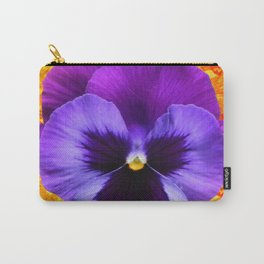 LARGE PURPLE-LILAC COLOR SPRING PANSY ON GOLD ART Carry-All Pouch