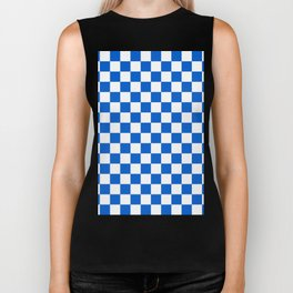 Gingham Brilliant Blue Checked Pattern Biker Tank