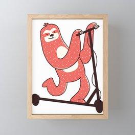 Sloth Riding Scooter Framed Mini Art Print