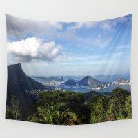 postcard Wall Tapestries featuring  RIO DE JANEIRO THE CITY POSTCARD by Claudia Araujo