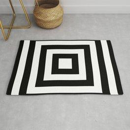 Classic Black White Squares Rug