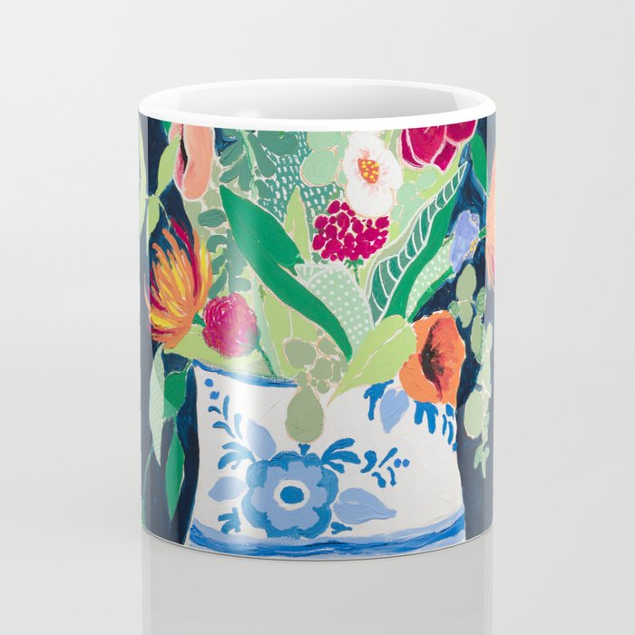Bouquet of Flowers in Blue and White Urn on Navy Coffee Mug
