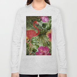 Tropical Vintage Exotic Jungle- Floral and Flamingo watercolor pattern Long Sleeve T-shirt