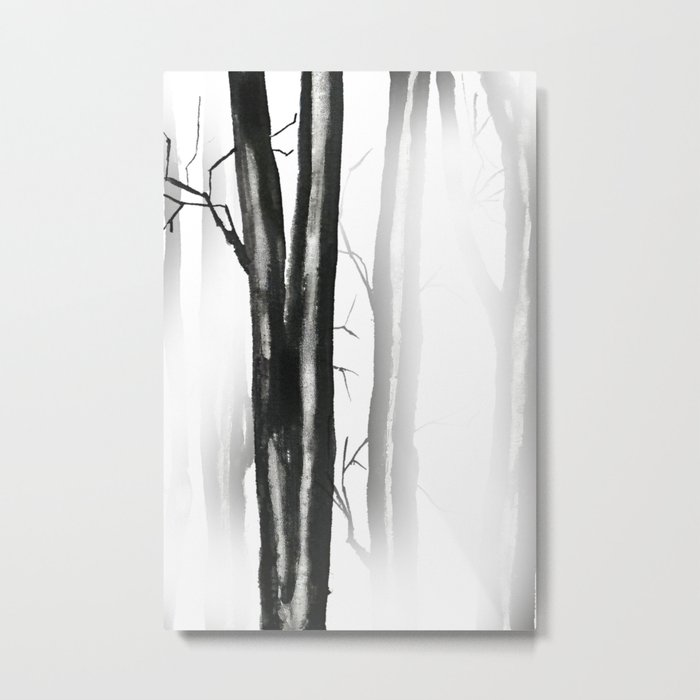 wood, snow and fog Metal Print