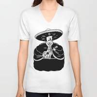 fat V-neck T-shirts featuring The Fat Mariachi by David Penela