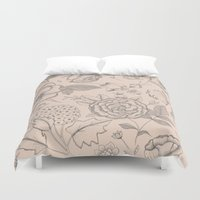 vintage flowers Duvet Covers featuring Vintage flowers by Indi Maverick