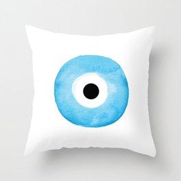 Watercolor Evil Eye Throw Pillow