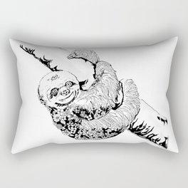Floral Sloth Illustration, Original (Inktober Day 7: Exhausted) Rectangular Pillow