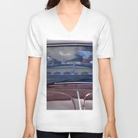 volkswagen V-neck T-shirts featuring volkswagen beetle car by gzm_guvenc