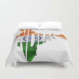 India World Map / Indian Typography Flag Map Art Duvet Cover