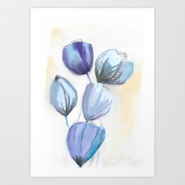 Blue bell flowers watercolor painting romantic something blue Art Print