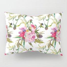 Elegant blush pink green yellow watercolor floral Pillow Sham