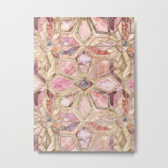 Geometric Gilded Stone Tiles in Blush Pink, Peach and Coral Metal Print