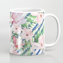 Modern blue white stripes blush pink green watercolor floral Coffee Mug