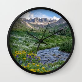 AMERICAN BASIN COLORADO PHOTO -  MOUNTAIN SUMMER IMAGE - WILDFLOWERS PICTURE - LANDSCAPE PHOTOGRAPHY Wall Clock