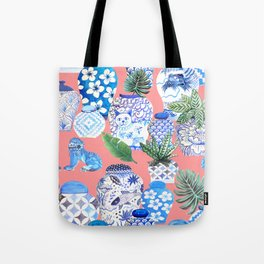 Coral pink Chinoiserie Chinese ginger jars... Tote Bag