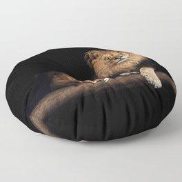 Portrait of Lion Family on dark background - vintage nature photo Floor Pillow