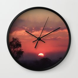 Sweet Pink Orange Sunset Wall Clock
