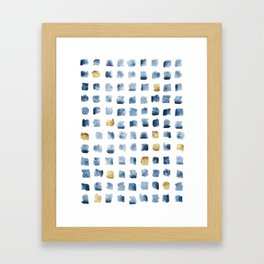 Watercolor Indigo Gold Geometrical Squares Pattern Framed Art Print