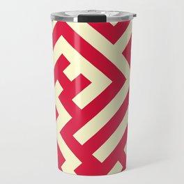 Cream Yellow and Crimson Red Diagonal Labyrinth Travel Mug