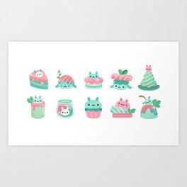 Choco Mint Rabbit Art Print