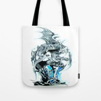 dragons Tote Bags featuring dragons by Vector Art