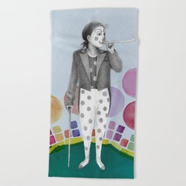 clown and lots of dots Beach Towel