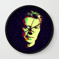 bowie Wall Clocks featuring Bowie by victorygarlic - Niki