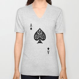 Ace Spades Spade Playing Card Game Minimalist Design Unisex V-Neck