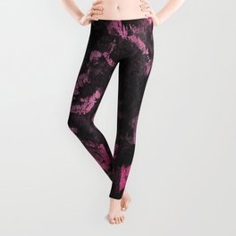 Black Ink on Pink Background Leggings