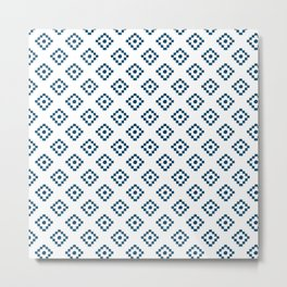 Geometrical abstract hand painted navy blue pattern Metal Print