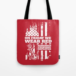 On Fridays We Wear Red Navy Family Tote Bag