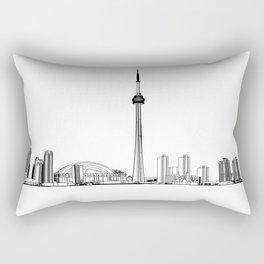Toronto Skyline - Black on White Rectangular Pillow