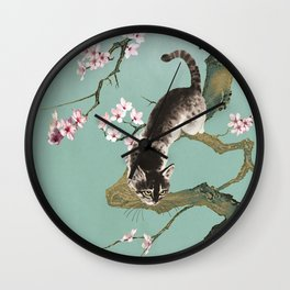 Fortune Cat In Cherry Tree Wall Clock