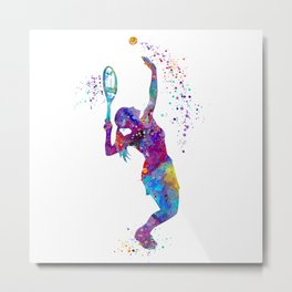 Girl Tennis Watercolor Art Print Sports Nursery Home Decor Kids Room Sports Painting Gifts Metal Print