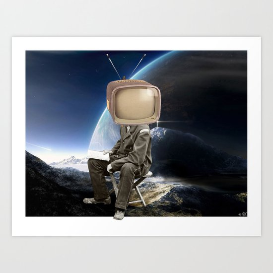 Space TV  Collage Art Print