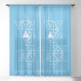 Blue Unrolled D20 Sheer Curtain