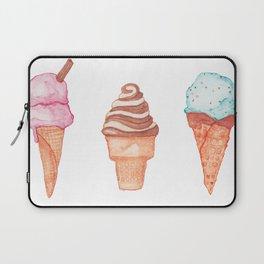 Watercolour Ice Cream Cones Laptop Sleeve