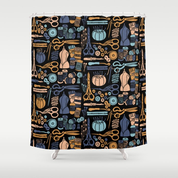 Sewing Notions Block Print Shower Curtain By Andrealaurendesign