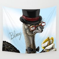 ostrich Wall Tapestries featuring The Fancy Ostrich by awkwardyeti