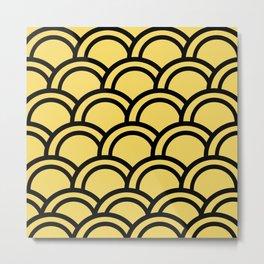 Gold Deco Fish Scale Metal Print