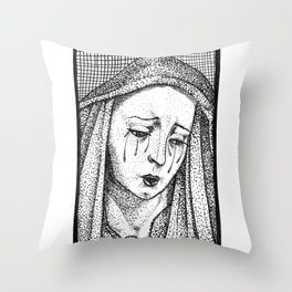 Crying Virgin Throw Pillow