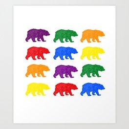 Rainbow Bears gay bears osos lgbt pride bear week Art Print