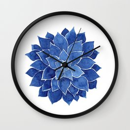 Indigo Succulent |  Watercolor Painting Wall Clock