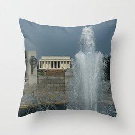 Memorial Fountain  And Lincoln Memorial Throw Pillow