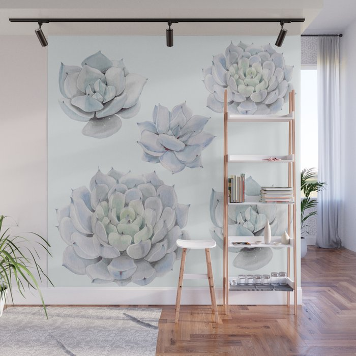 Blue Succulents Wall Mural