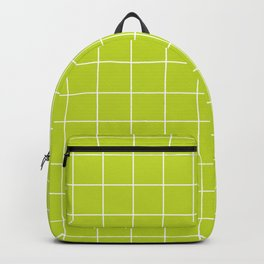Minimal grid pattern on lime punch Backpack