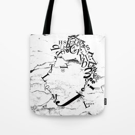 Typeface distressed Tote Bag