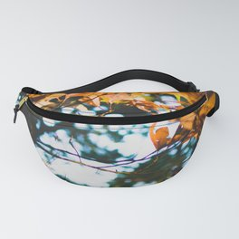Autumn Leaves   Nature Photography Orange Fall Leaves Against Dark Background Fanny Pack