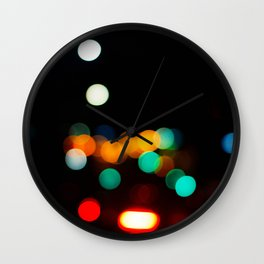 Blurred City Lights Wall Clock